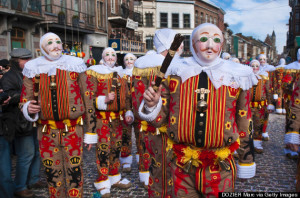 Belgium, Walloon Municipality, province of Hainaut, village of Binche, carnaval of Binche listed as World Heritage by UNESCO, parade of the Gilles de Binche with their wax masks for Mardi Gras (Shrove Tuesday)