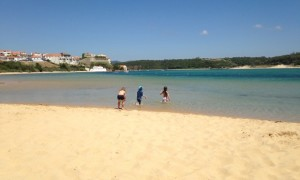 The shallow, child-friendly waters of Farol Beach. Photograph: Isabel Choat