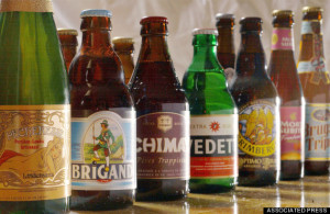 A selection, out of more than 450 types, of beer is shown in Brussels, Belgium. (AP Photo/Geert Vanden Wijngaert)