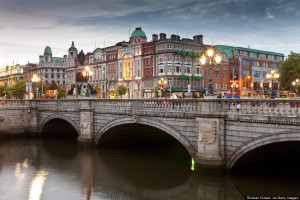 O'Connell Bridge over Liffey River and buildings on Bachelor's Walk and O'Connell Street, Dublin, Ireland
